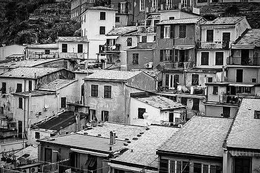 Jumble of Houses Vernazza Cinque Terre Italy BW by Joan Carroll