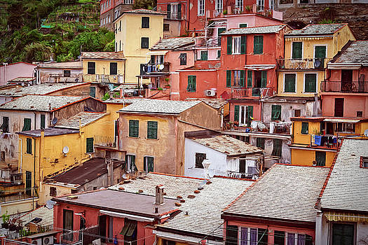 Jumble of Houses Vernazza Cinque Terre Italy by Joan Carroll