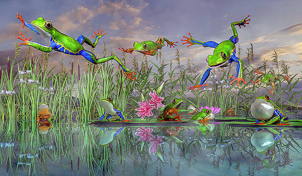 Jumping Joy Spring Time Frogs by Betsy Knapp