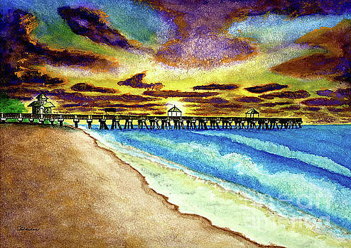 June Beach Pier Florida Seascape Sunrise Painting A1 by Ricardos Creations