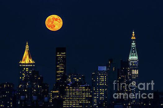 Regina Geoghan - June Strawberry Moon over Manhattan