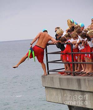 Junior Guards Pier Jump Huntington Beach California by Linda Queally