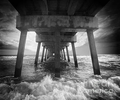Ricardos Creations - Juno Beach Pier Sunrise Seascape Black and White D8