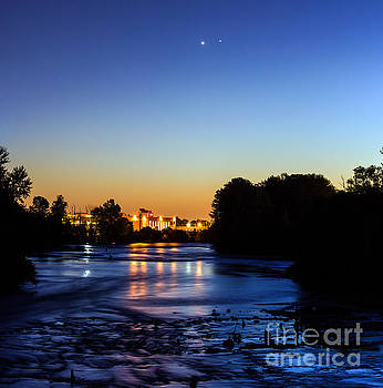 Jupiter and Venus over the Willamette River in Eugene Oregon by Michael Cross