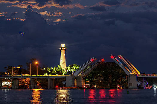 Jupiter Inlet Light and Moonlit Clouds by Claudia Domenig