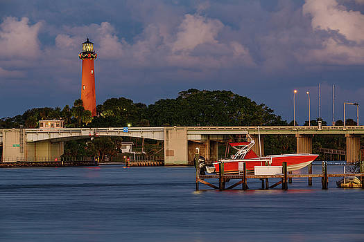 Jupiter Inlet Light and the Red Boat  by Claudia Domenig