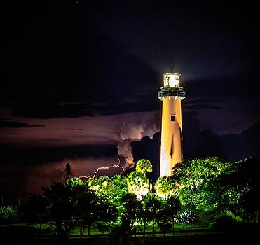 Jupiter Lighthouse Lightning by Christopher Perez