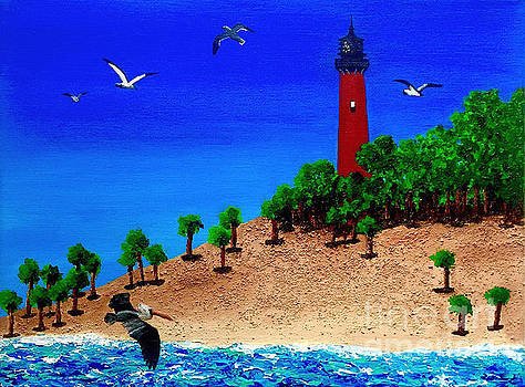 Jupiter Lighthouse with Seagulls and a Pelican by Ashley Baldwin