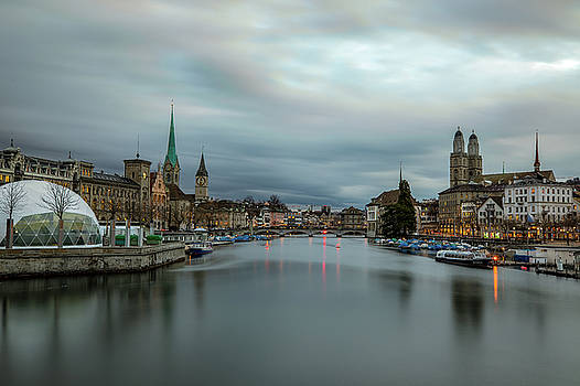 Just after sunset in Zurich by M C Hood