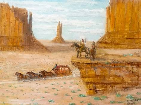 Larry E Lamb - Just Passing Through Southwest oil painting