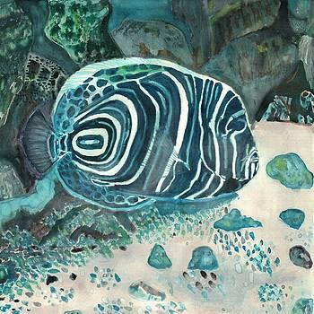 Juvenile Emperor Angelfish by Ramon Bendita