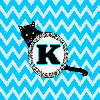 K Cat Chevron Monogram by Paintings by Gretzky