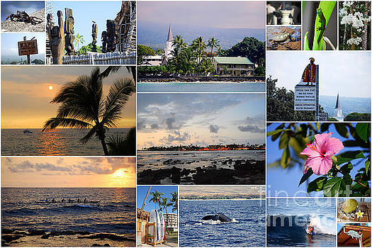 Kailua Kona Hawaii Collage by Catherine Sherman