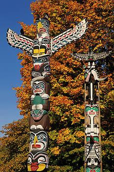 Reimar Gaertner - Kakasolas and Chief Wakas totem poles in Stanley Park Vancouver