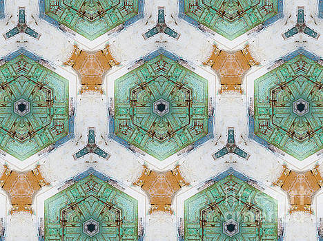 Kaleidoscope In Mint And Orange by Agnieszka Kubica
