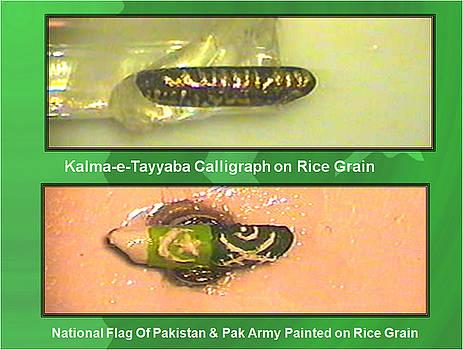 Kalma-e-Tayyaba and Flags on Rice Grain by Qaseem Ur- Rahim