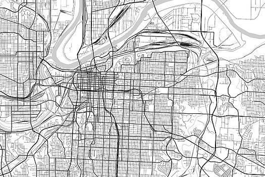 Kansas City Missouri Usa Light Map By Jurq Studio