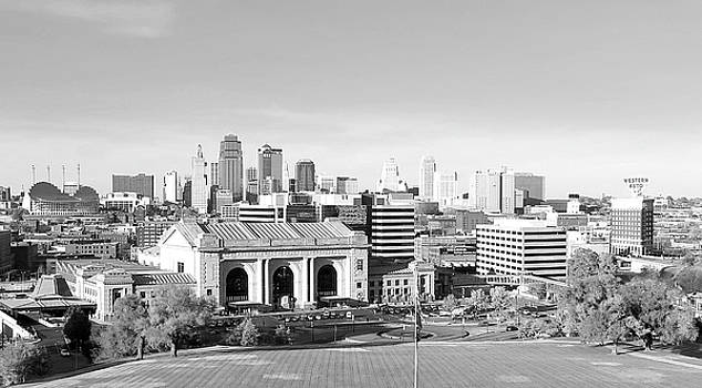 Kansas city skyline in black and white by stacia weiss