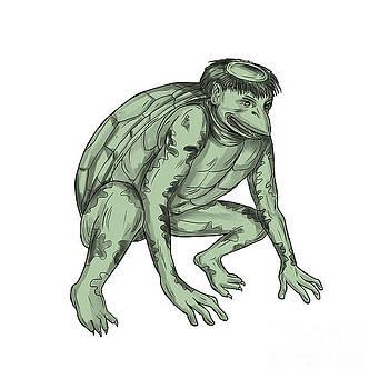 Kappa Monster Crouching Tattoo by Aloysius Patrimonio