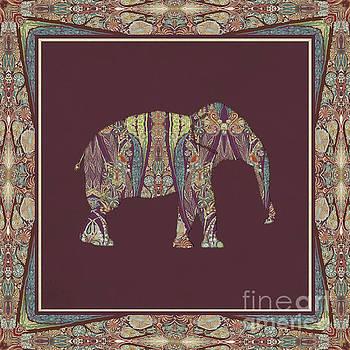 Kashmir Patterned Elephant 2 - Boho Tribal Home Decor  by Audrey Jeanne Roberts