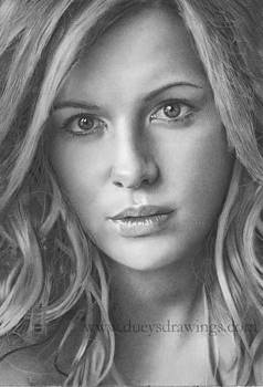 Kate Beckinsale Pencil Drawing by Brian Duey