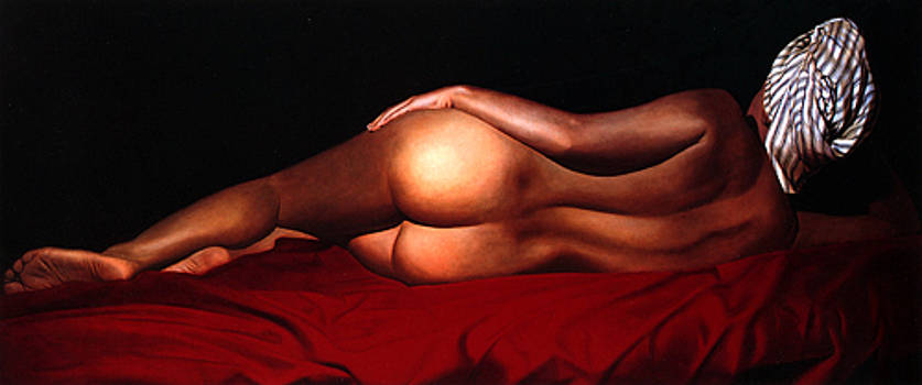 Katia Lying with turban by Toby Boothman