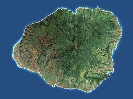 Kauai, Hawaii - Satellite Map by Ian Grasshoff