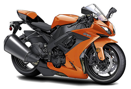 Kawasaki Ninja Orange Motorcycle by Maddmax