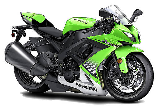Kawasaki Ninja Racing Green Motorcycle by Maddmax