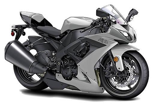 Kawasaki Ninja Silver Motorcycle by Maddmax