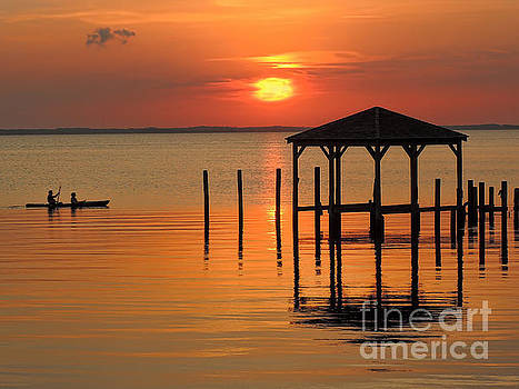 Kayaking At Sunset OBX by Jeff Breiman