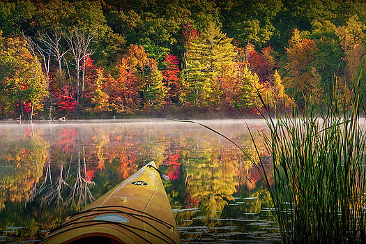 Randall Nyhof - Kayaking on a Small Lake in Autumn