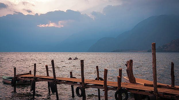 Kayaking on Lake Atitlan at Sunset by Daniela Constantinescu
