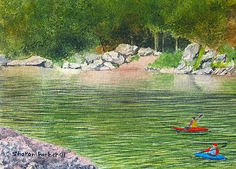 Kayaks on the River by Sharon Farber