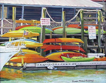 Kayaks Stacked on Shem Creek by Thomas Michael Meddaugh