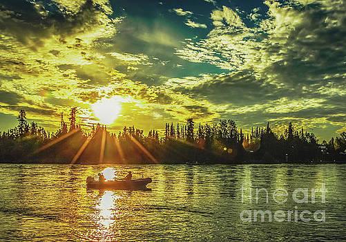Kenai River King Salmon Fishing At Sunrise by Edie Ann Mendenhall