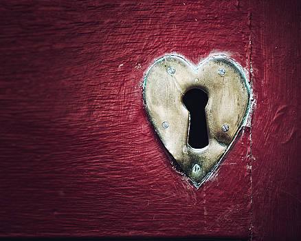 Key to my Heart in Red and Bronze by Lisa Russo