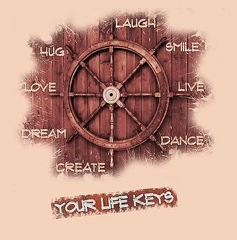 Keys to Happiness Typography on wooden Helm by Georgeta Blanaru