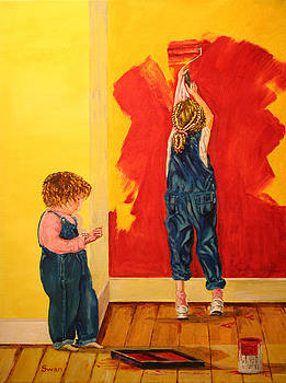 Kids painting by Graham Swan