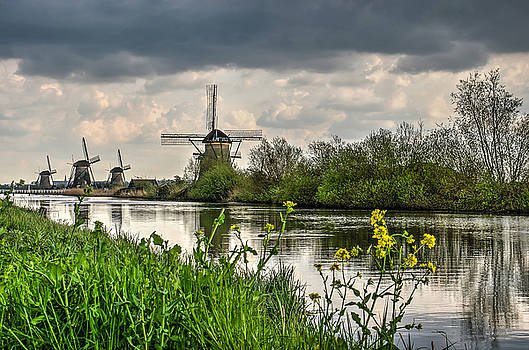 Kinderdijk Windmills in Springtime by Frans Blok