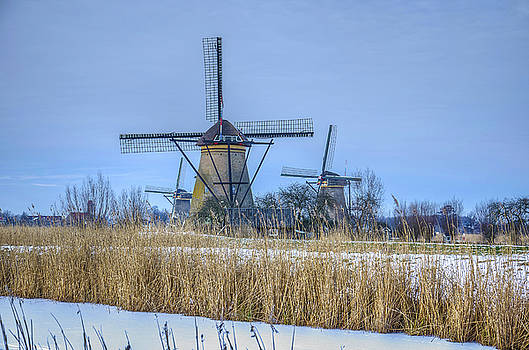 Kinderdijk Windmills in Winter by Frans Blok