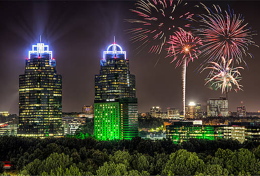 King And Queen Buildings Fireworks by Anna Rumiantseva