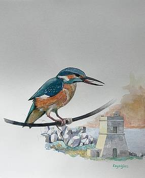 Kingfisher over tal-Lippija tower by Ray Agius