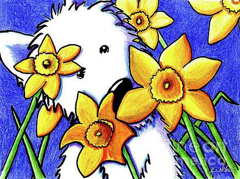 KiniArt Westie Daffodils by Kim Niles