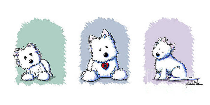 KiniArt Westie Trio by Kim Niles