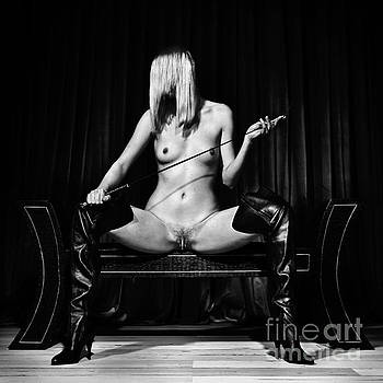 Kinky fetish image with a nude woman in black and white by William Langeveld