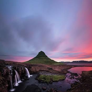 Kirkjufellsfoss Waterfalls Iceland square version by Larry Marshall