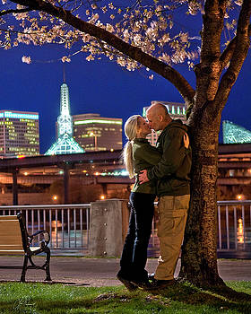 Kiss Under The Cherry Tree - Vertical by Lori Grimmett