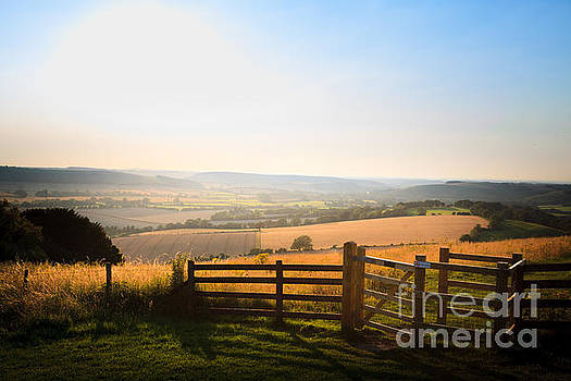 Peter Noyce - kissing gate entrance in fence  to Butser Hill with view of Sout