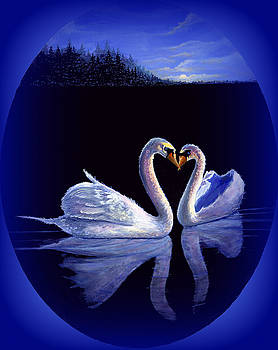 Kissing Swans by Bonnie Cook